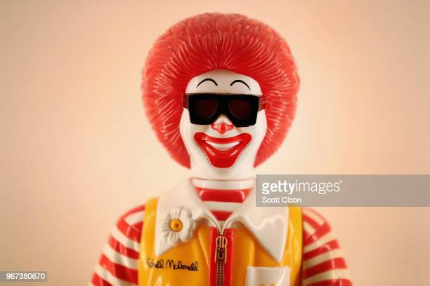 A plastic statue of Ronald McDonald is displayed inside of McDonald's new corporate headquarters on June 4 2018 in Chicago Illinois McDonald's...