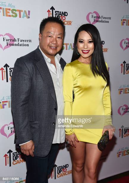 Plastic surgeon Dr Gabriel Chiu and Christine Chiu arrive at the Farrah Fawcett Foundation's TexMex Fiesta event honoring Stand Up To Cancer at the...