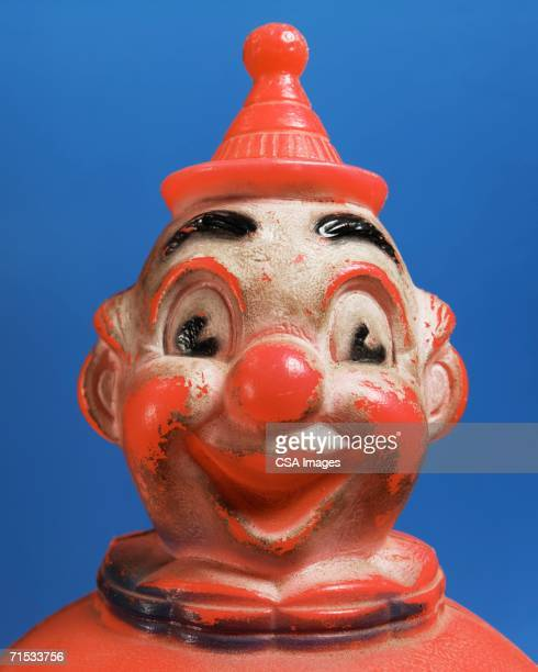 plastic toy clown - happy clown faces stock photos and pictures