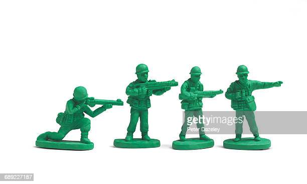 Plastic toy soldiers in a line