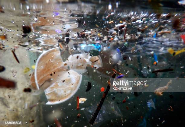 Plastic waste and debris underwater carried by the storm of the last days at sea The bad weather that hit Naples has caused much damage to the beaches