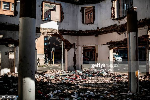 Plastic waste is dumped in an abandoned building in downtown Johannesburg on June 2 2018 On June 5 2018 the United Nations mark the World Environment...