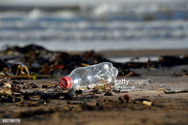 Plastic waste is washed up on South Troon beach on January 26 2017 in Troon Scotland Recent reports by scientists have confirmed plastics dumped in...