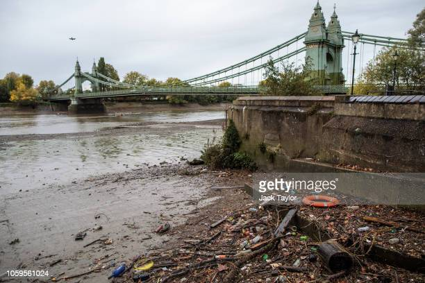 Plastic waste lies on the banks of the River Thames by Hammersmith Bridge at low-tide on October 26, 2018 in London, England. The European Parliament...