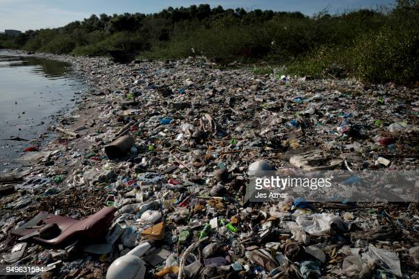 Plastic wastes fill a beach on April 18 2018 in Manila Philippines The Philippines has been ranked third on the list of the world's topfive plastic...