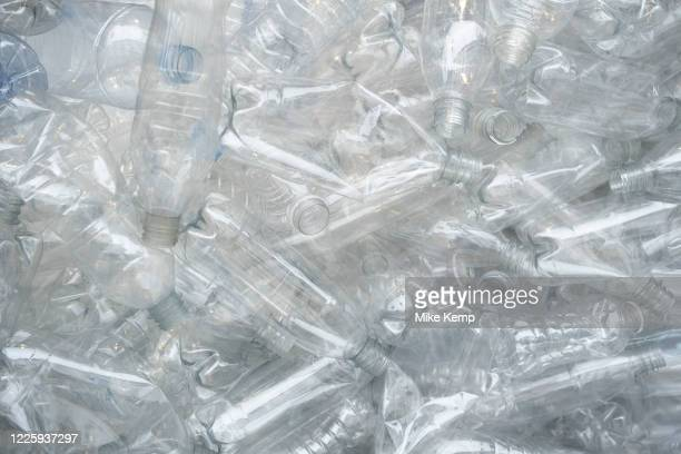 Plastic water and drinks bottles for recycling on 1st July 2020 in London United Kingdom Singleuse plastics or disposable plastics are used only once...