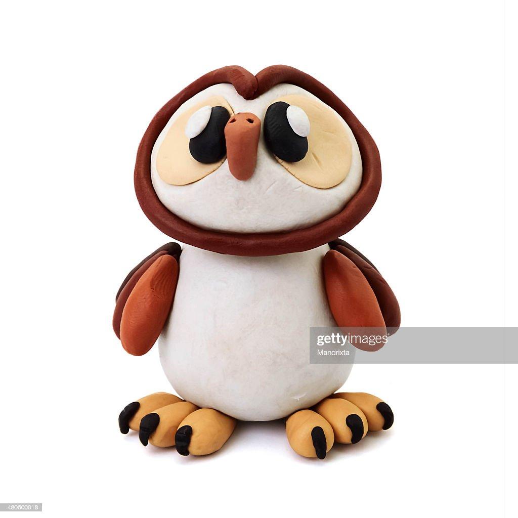 Plasticine owl : Stock Photo
