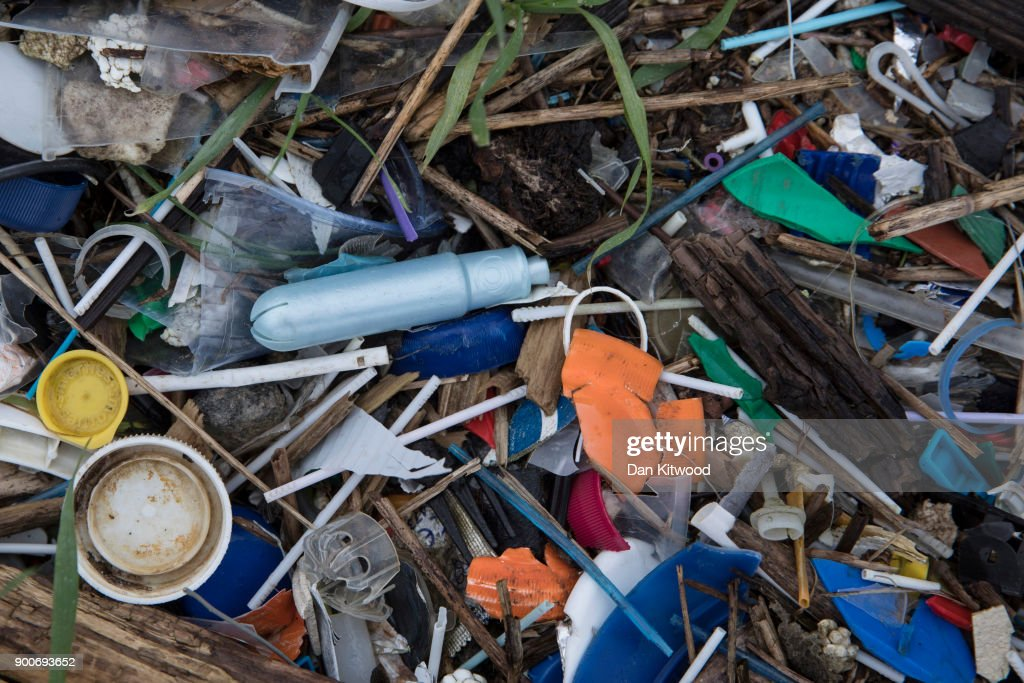 Plastics and other detritus line the shore of the Thames Estuary on January 2, 2018 in Rainham, Kent. Tons of plastic and other waste lines areas along the Thames Estuary shoreline, an important feeding ground for wading birds and other marine wildlife. According to the United Nations Environment Programme (UNEP), at current rates of pollution, there will likely be more plastic in the sea than fish by 2050. In December 2017 Britain joined the other 193 UN countries and signed up to a resolution to help eliminate marine litter and microplastics in the sea. It is estimated that about eight million metric tons of plastic find their way into the world's oceans every year. Once in the Ocean plastic can take hundreds of years to degrade, all the while breaking down into smaller and smaller 'microplastics,' which can be consumed by marine animals, and find their way into the human food chain.