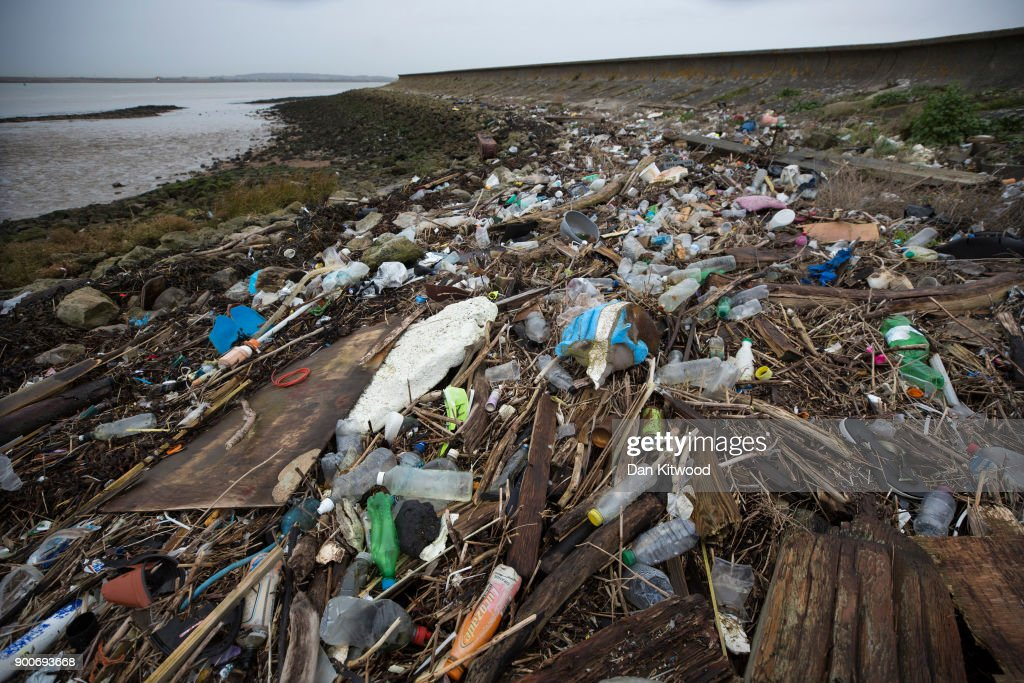 Plastics and other detritus line the shore of the Thames Estuary on January 2, 2018 in Cliffe, Kent. Tons of plastic and other waste lines areas along the Thames Estuary shoreline, an important feeding ground for wading birds and other marine wildlife. According to the United Nations Environment Programme (UNEP), at current rates of pollution, there will likely be more plastic in the sea than fish by 2050. In December 2017 Britain joined the other 193 UN countries and signed up to a resolution to help eliminate marine litter and microplastics in the sea. It is estimated that about eight million metric tons of plastic find their way into the world's oceans every year. Once in the Ocean plastic can take hundreds of years to degrade, all the while breaking down into smaller and smaller 'microplastics,' which can be consumed by marine animals, and find their way into the human food chain.