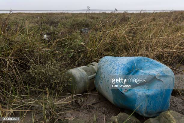 Plastics and other detritus line the shore of the Thames Estuary on January 2 2018 in Cliffe Kent Tons of plastic and other waste lines areas along...