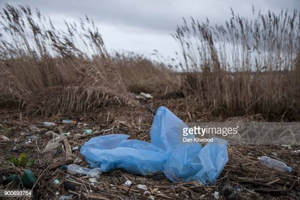 Plastics and other detritus line the shore of the Thames Estuary on January 2 2018 in Rainham Kent Tons of plastic and other waste lines areas along...