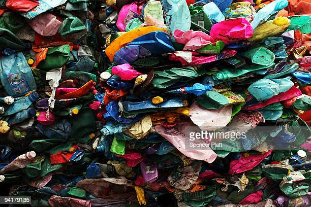 Plastics are piled to be recycled at at the Jardim Gramacho waste disposal site on December 9 2009 in Jardim Gramacho Brazil Referred to as the...