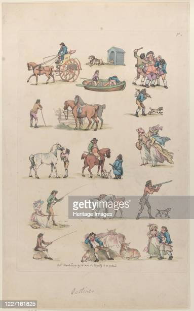 Plate 1 Outlines of Figures Landscapes and Cattlefor the Use of Learners March 8 1790 Artist Thomas Rowlandson