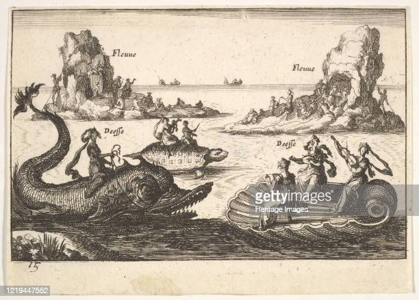 Rivers and goddesses, with floating islands guided by pole bearers, female figures seated on a dolphin and a tortoise, and three female musicians...
