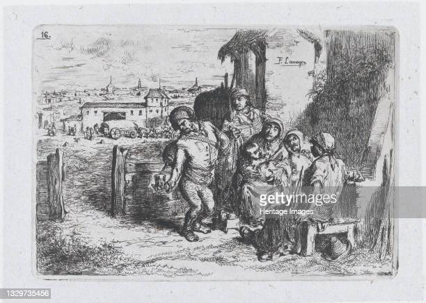 A group of people outdoors, including a man pouring wine or water from a vessel on his back, from the series of customs and pastimes of the Spanish...