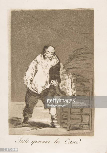 Plate 18 from 'Los Caprichos':And his house is on fire , 1799. Artist Francisco Goya.