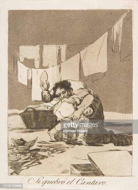 Plate 25 from 'Los Caprichos': If he broke the pot , 1799. Artist Francisco Goya.