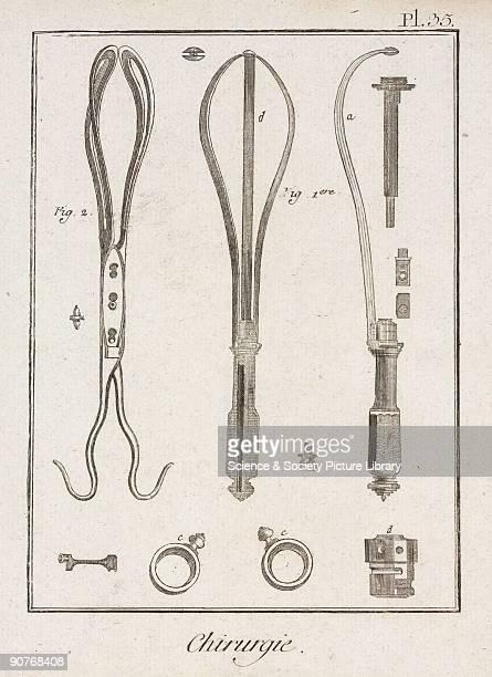 Plate 35 entitled �Chirurgie� , showing surgical instruments from the 1780 quarto edition of 'La Grande Encyclopedie, ou Dictionnaire Raisonne des...