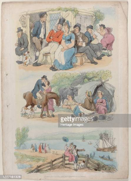 "Recruiting, from ""World in Miniature"", 1816. Artist Thomas Rowlandson."