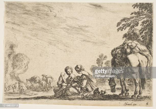 two women one nursing a child seated next to a dog and a horse carrying a pack horses and figures to left in the background from 'Various Figures'...