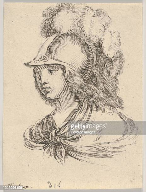 Bust of Minerva, wearing a helmet with feathers, looking towards the left, from 'Various heads and figures' , 1650. Artist Stefano della Bella.
