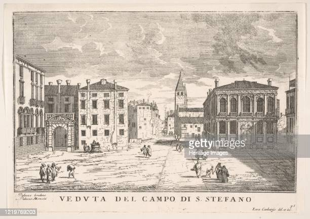 View of Campo Santo Stefano with the Loredan Palace and Morosini Palace Venice from The buildings and views of Venice 1703 Artist Luca Carlevarijs