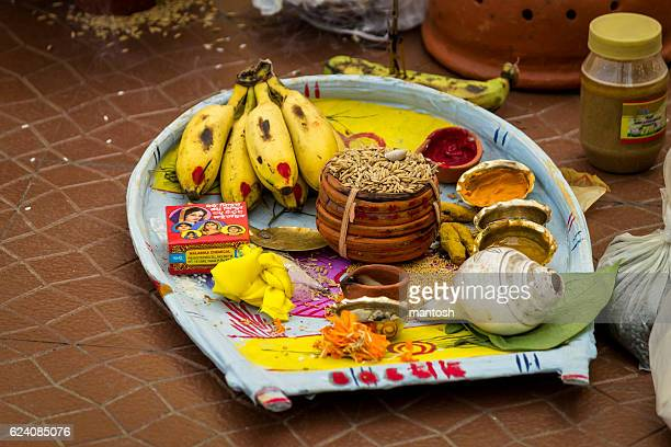 plate containing sacred items for puja (prayers) - ceremony stock pictures, royalty-free photos & images
