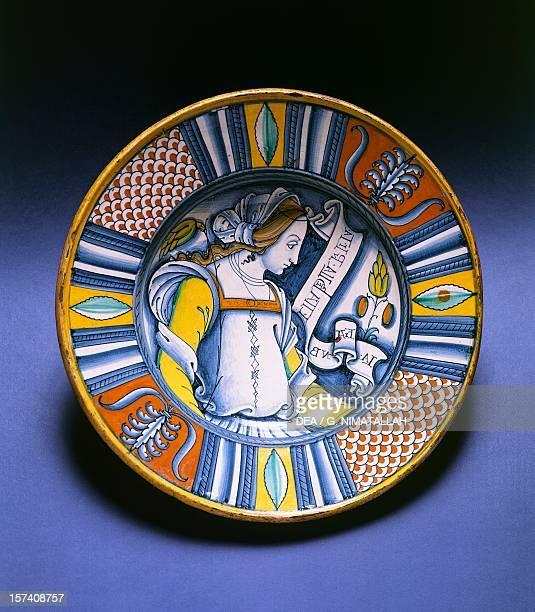 Plate decorated with a female portrait maiolica Deruta manufacture Umbria Italy 16th century Florence Museo Nazionale Del Bargello