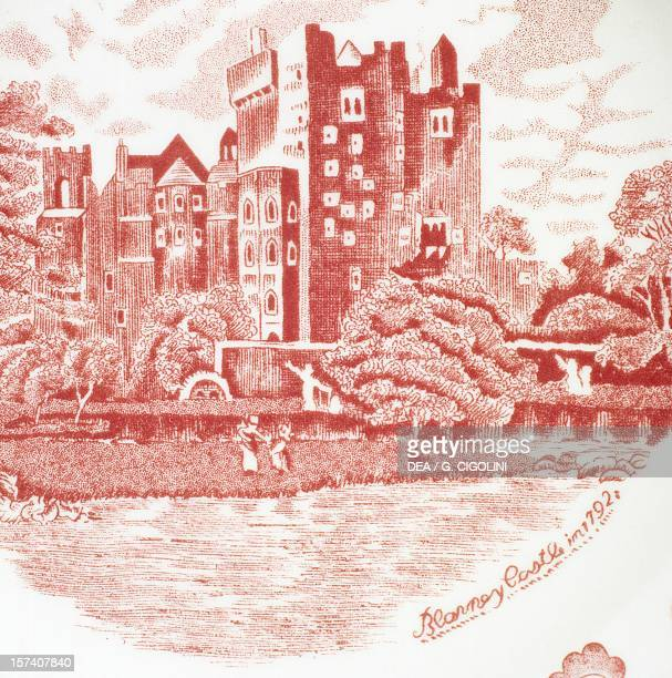 Plate depicting Blarney Castle in 1792 built in 1883 ceramic Old Britain Castles series Johnson Brothers manufacture Staffordshire Detail England...