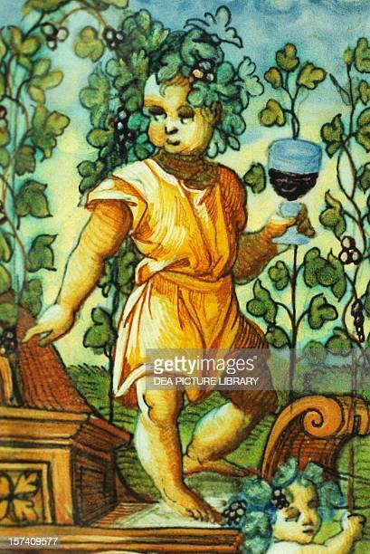 Plate depicting the triumph of Bacchus ceramic Patanazzi workshop Urbino Marche Detail Italy 16th century Torgiano Museo Del Vino