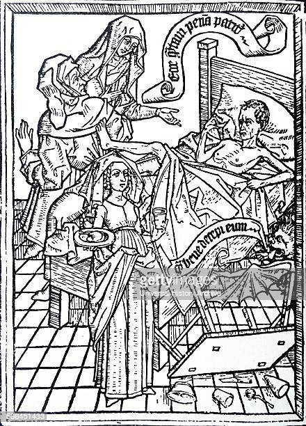 Plate from a blockbook illustrating sin of impatience The dying man tempted by a devil has overturned the table and Is kicking his doctor Dated 15th...