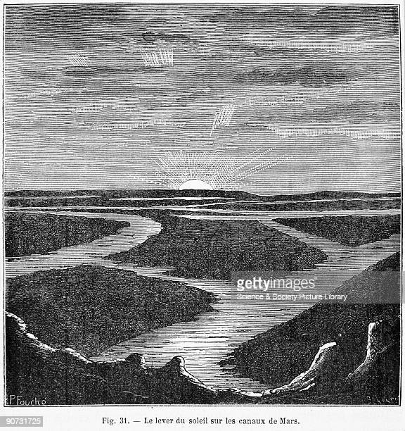 Plate from 'Les Terres du Ciel' written by the French astronomer Camille Flammarion The plate is an artist's impression of how canals on Mars might...