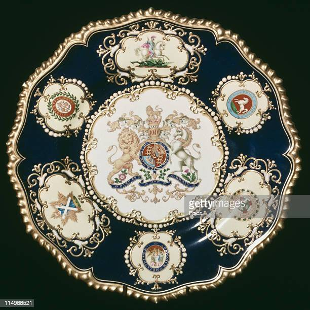 A plate from the a commemorative dinner service made for the coronation of King William IV in 1831 on display at the Dyson Perrins Museum or...