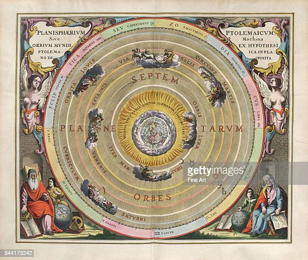 A plate from the cosmographical atlas Harmonia Macrocosmica by Andreas Cellarius The planisphere of Ptolemy or the mechanism of the heavenly orbits...