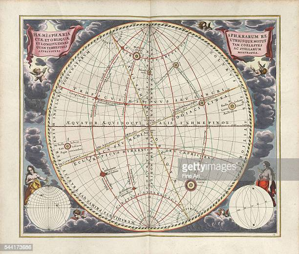 A plate from the cosmographical atlas Harmonia Macrocosmica by Andreas Cellarius Hemispheres displaying both the celestial and terrestrial motions...