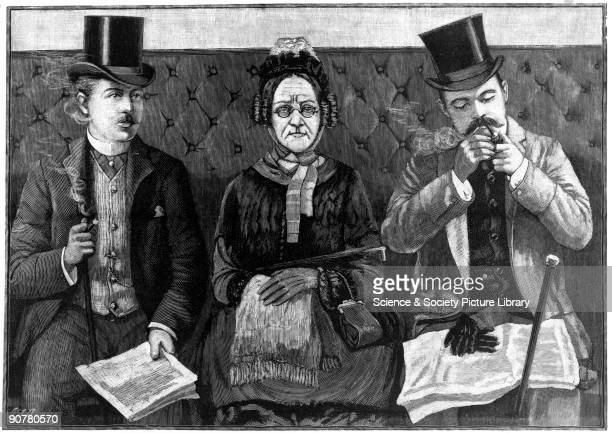 Plate from the �Illustrated London News� A prim lady is trapped between two gentlemen one smoking a pipe and the other a cigar The harmful effects of...