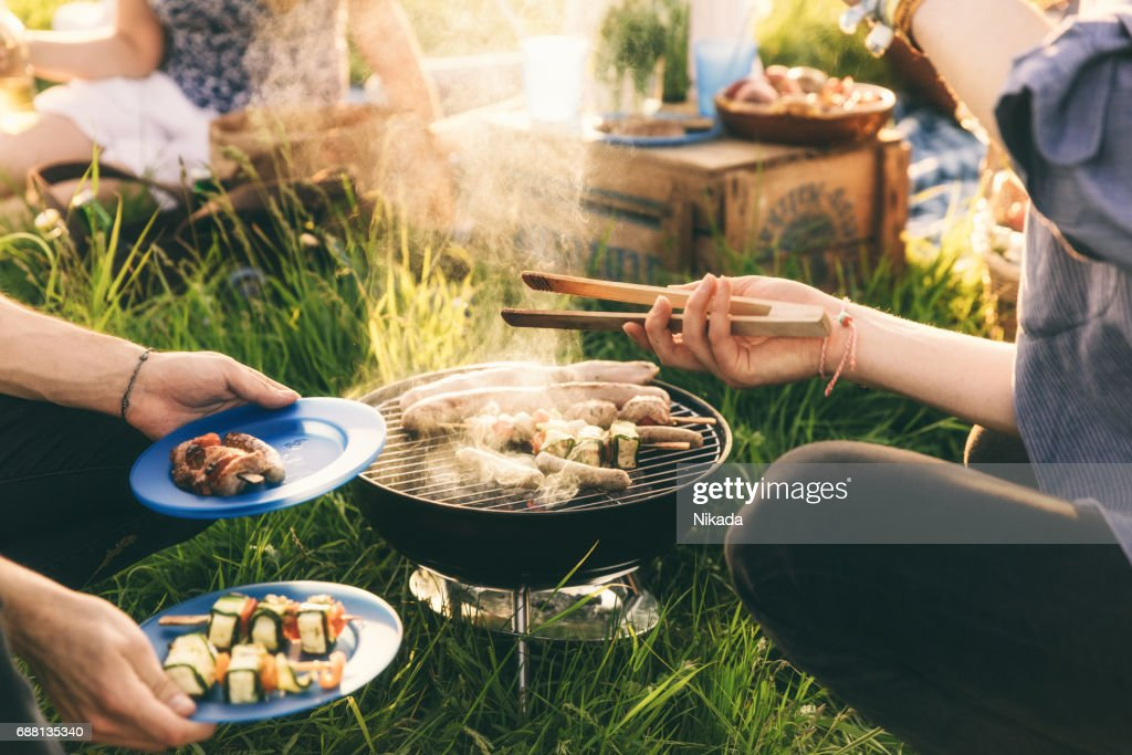 Plate full of grilled food,  barbecue with friends : Stock Photo