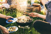 plate full grilled food barbecue with