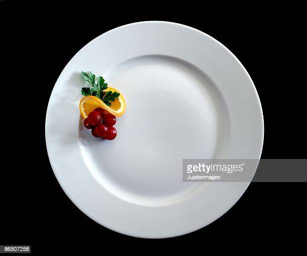 Plate garnished with fruit