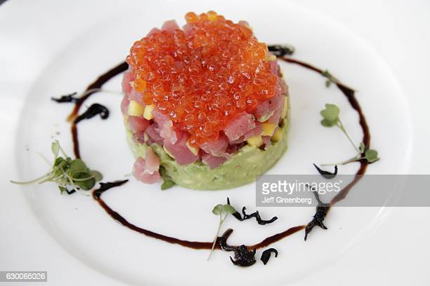 A plate of ahi tuna and salmon roe at the restaurant in the Tides South Beach hotel