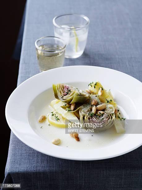 Plate of artichoke and lemon salad