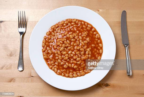 Plate of baked beans, overhead view