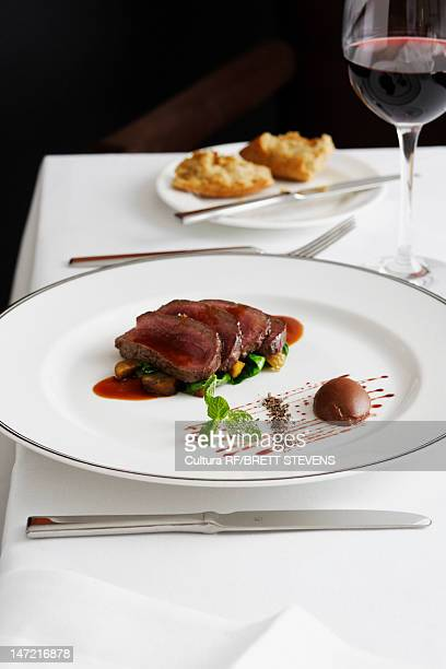 Plate of beef with glass of wine