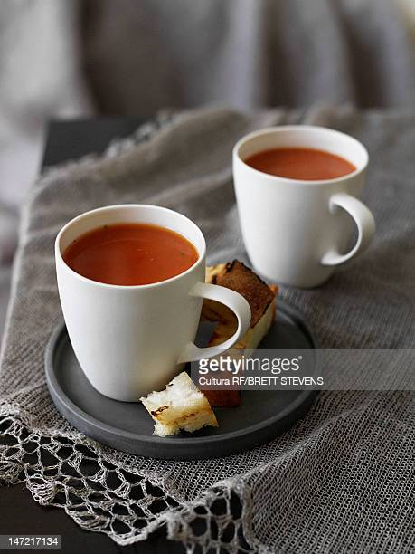Plate of bread with cup of soup