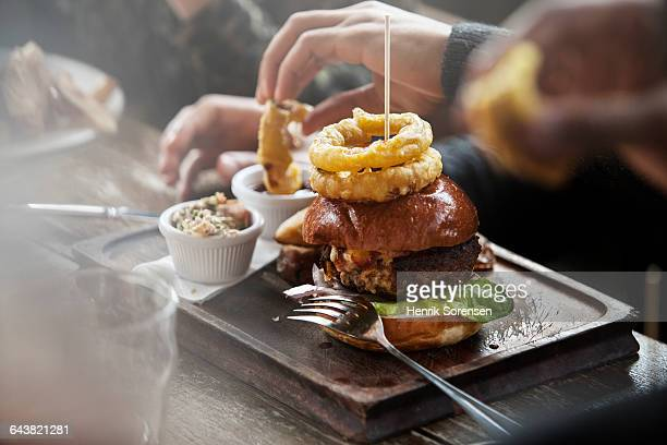 plate of burger and fries - cafe stock pictures, royalty-free photos & images