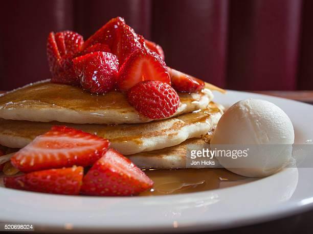 A plate of buttermilk pancakes.