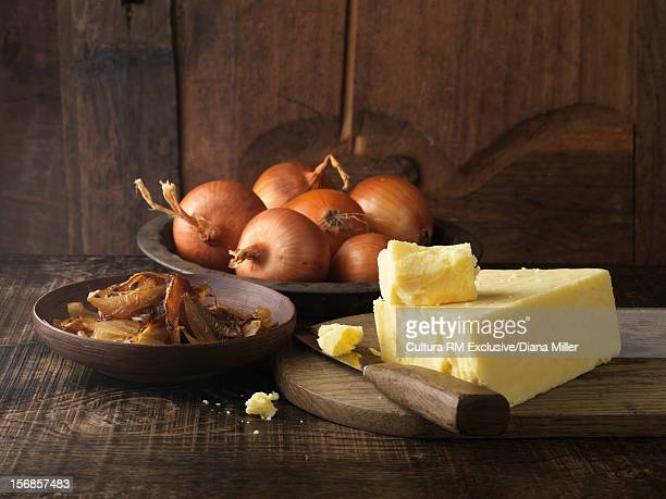 Plate of cheese and onions
