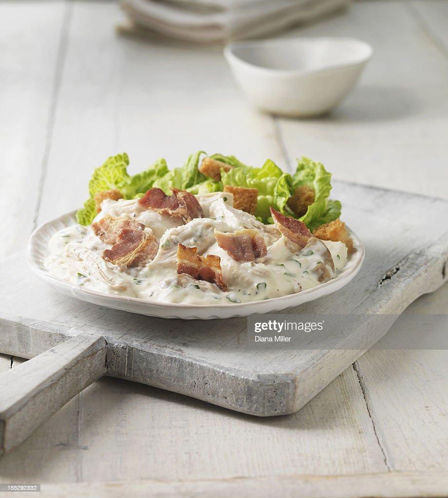 Plate of chicken bacon caesar salad : Stock Photo