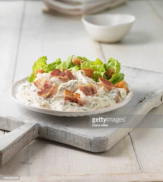 Plate of chicken bacon caesar salad