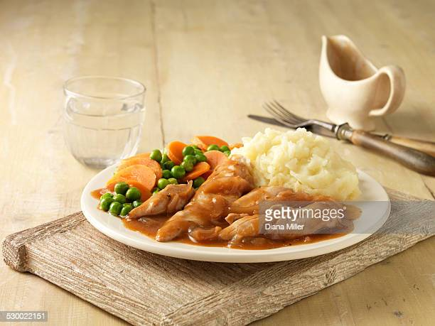 Plate of chicken breast in gravy with peas, carrots and mashed potatoes